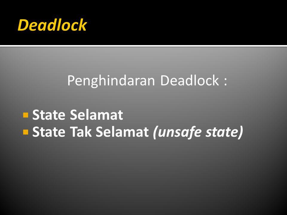 Penghindaran Deadlock :  State Selamat  State Tak Selamat (unsafe state)