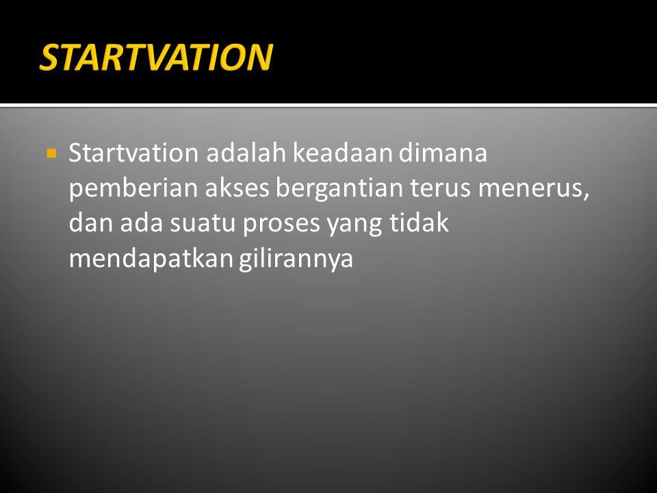  Startvation adalah keadaan dimana pemberian akses bergantian terus menerus, dan ada suatu proses yang tidak mendapatkan gilirannya