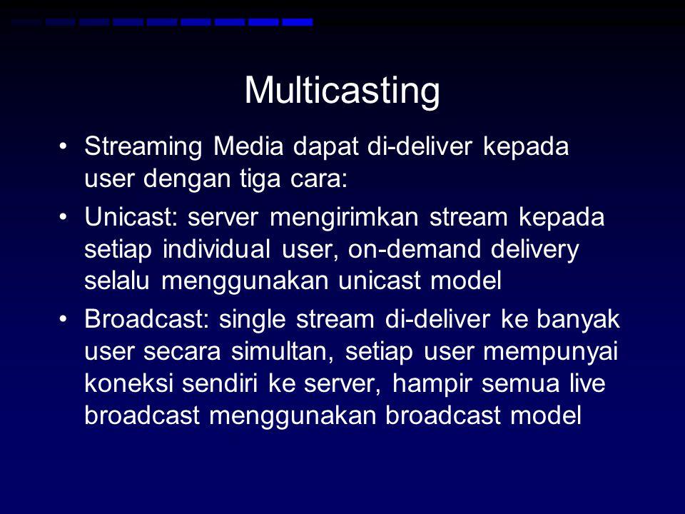 Multicasting Streaming Media dapat di-deliver kepada user dengan tiga cara: Unicast: server mengirimkan stream kepada setiap individual user, on-demand delivery selalu menggunakan unicast model Broadcast: single stream di-deliver ke banyak user secara simultan, setiap user mempunyai koneksi sendiri ke server, hampir semua live broadcast menggunakan broadcast model