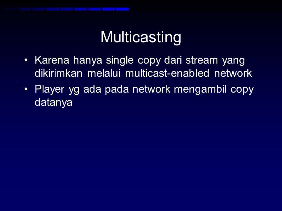 Multicasting Karena hanya single copy dari stream yang dikirimkan melalui multicast-enabled network Player yg ada pada network mengambil copy datanya