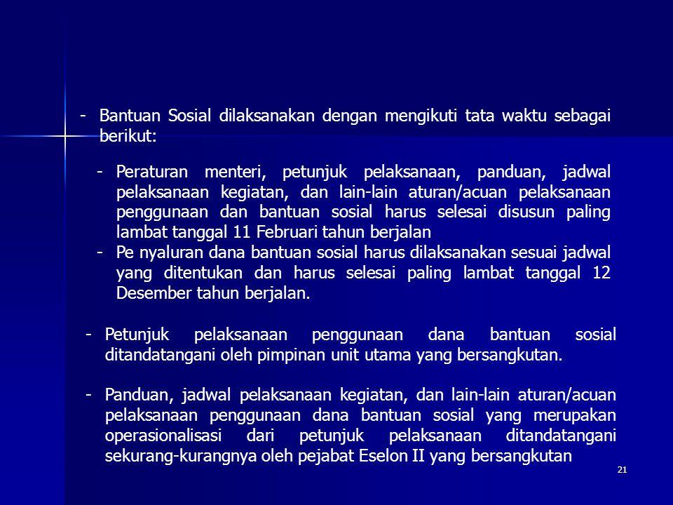 -Bantuan Sosial dilaksanakan dengan mengikuti tata waktu sebagai berikut: -Peraturan menteri, petunjuk pelaksanaan, panduan, jadwal pelaksanaan kegiat