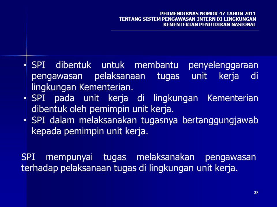 27 PERMENDIKNAS NOMOR 47 TAHUN 2011 TENTANG SISTEM PENGAWASAN INTERN DI LINGKUNGAN KEMENTERIAN PENDIDIKAN NASIONAL SPI dibentuk untuk membantu penyele
