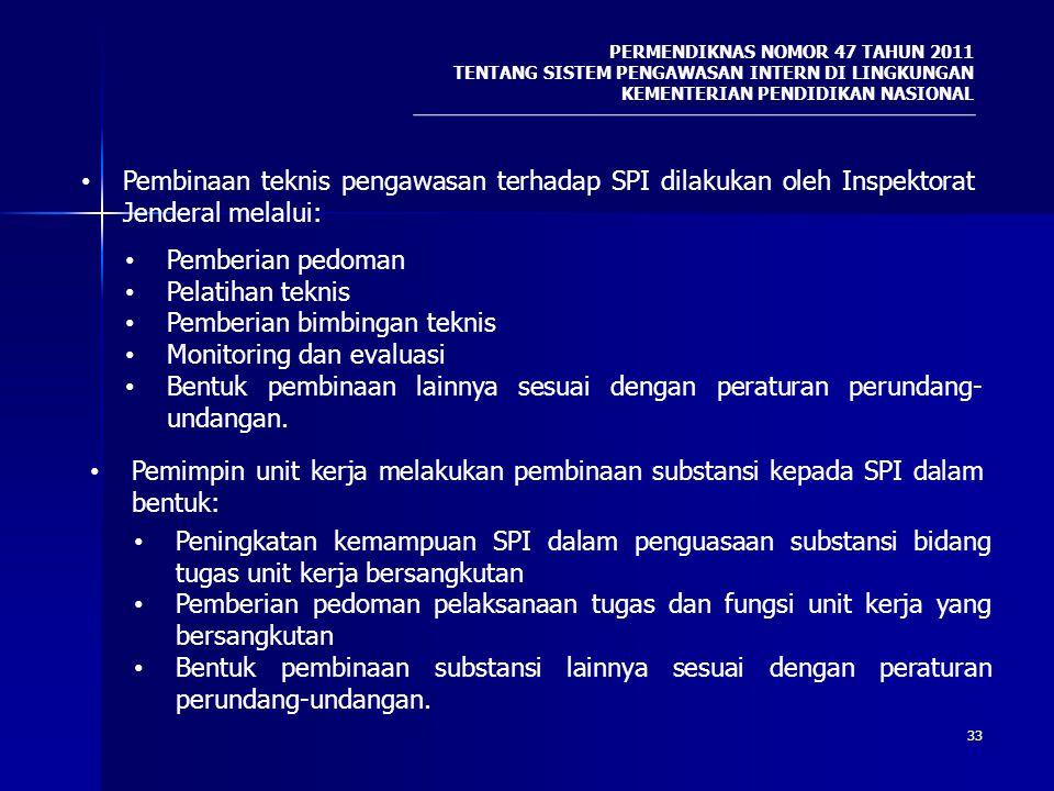 33 PERMENDIKNAS NOMOR 47 TAHUN 2011 TENTANG SISTEM PENGAWASAN INTERN DI LINGKUNGAN KEMENTERIAN PENDIDIKAN NASIONAL Pembinaan teknis pengawasan terhada