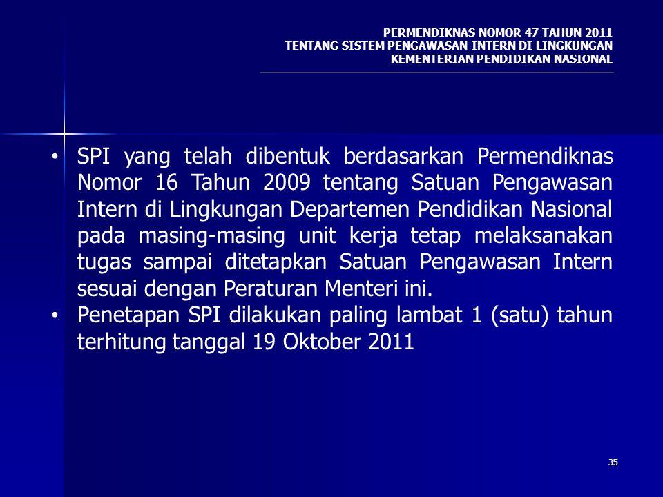 35 SPI yang telah dibentuk berdasarkan Permendiknas Nomor 16 Tahun 2009 tentang Satuan Pengawasan Intern di Lingkungan Departemen Pendidikan Nasional
