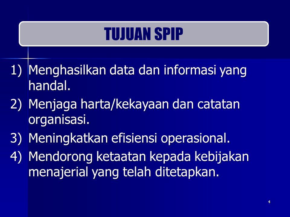 1)Menghasilkan data dan informasi yang handal. 2)Menjaga harta/kekayaan dan catatan organisasi. 3)Meningkatkan efisiensi operasional. 4)Mendorong keta