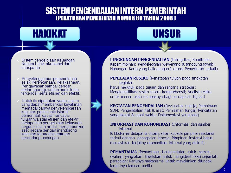 6 o Sistem pengelolaan Keuangan Negara harus akuntabel dan transparan. o Penyelenggaraan pemerintahan sejak Perencanaan, Pelaksanaan, Pengawasan sampa