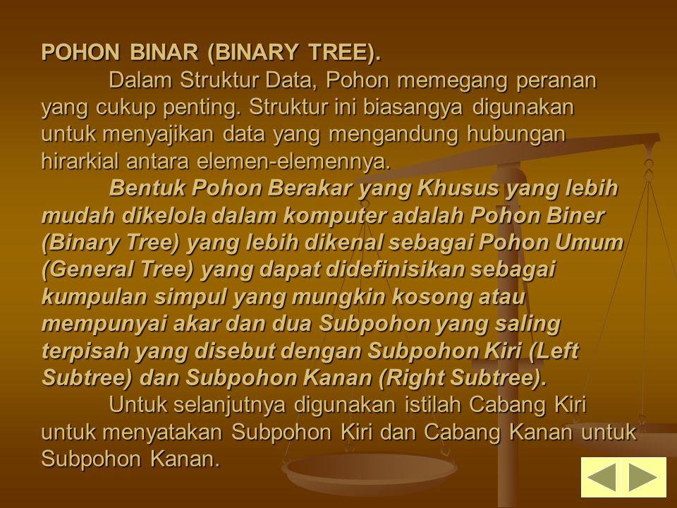 POHON BINAR (BINARY TREE). Dalam Struktur Data, Pohon memegang peranan yang cukup penting. Struktur ini biasangya digunakan untuk menyajikan data yang