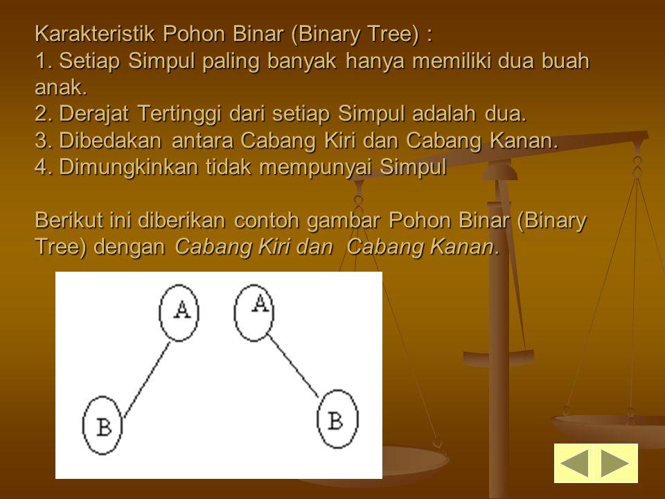 Karakteristik Pohon Binar (Binary Tree) : 1. Setiap Simpul paling banyak hanya memiliki dua buah anak. 2. Derajat Tertinggi dari setiap Simpul adalah