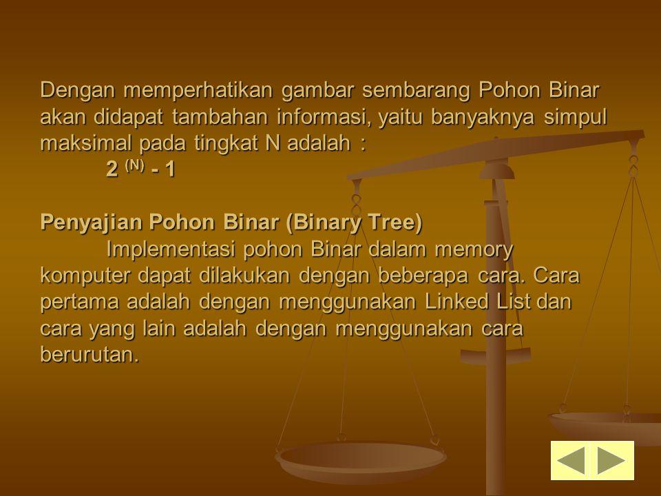 Dengan memperhatikan gambar sembarang Pohon Binar akan didapat tambahan informasi, yaitu banyaknya simpul maksimal pada tingkat N adalah : 2 (N) - 1 P