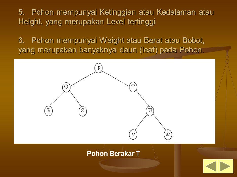 5. Pohon mempunyai Ketinggian atau Kedalaman atau Height, yang merupakan Level tertinggi 6. Pohon mempunyai Weight atau Berat atau Bobot, yang merupak