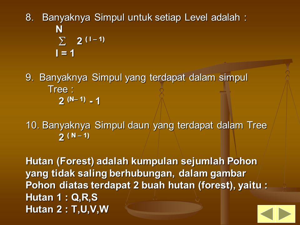 8. Banyaknya Simpul untuk setiap Level adalah : N  2 ( I – 1) I = 1 9. Banyaknya Simpul yang terdapat dalam simpul Tree : 2 (N– 1) - 1 10. Banyaknya