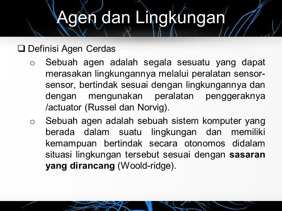 Tipe Agen  Learning agents (5 of 5) o Learning agents belajar dari pengalaman, meningkatkan kinerja bertanggung jawab untuk membuat perbaikan Elemen kinerja bertanggung jawab untuk memilih tindakan eksternal Kritikus memberikan umpan balik tentang bagaimana agen bekerja