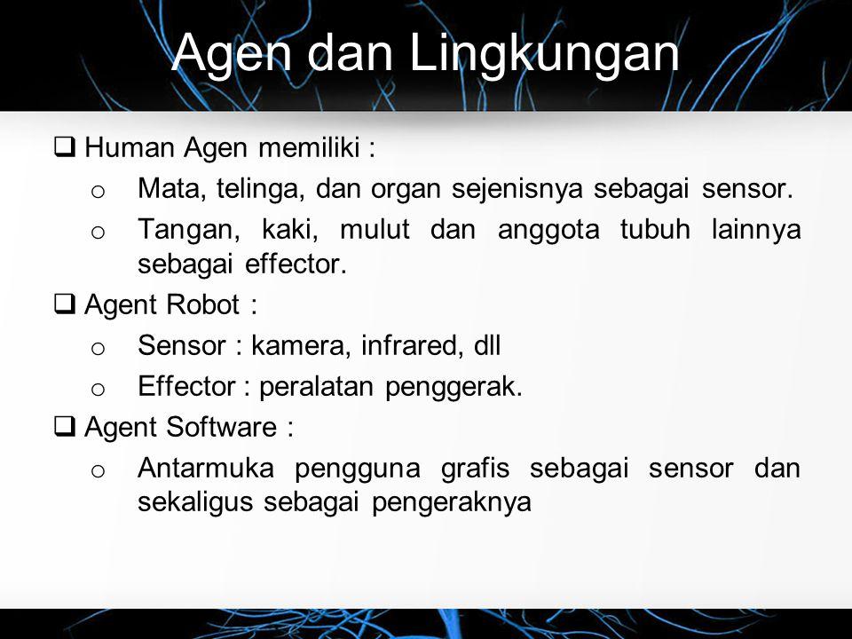 Tipe Agen  Tipe Agen o Untuk pembuatan agen cerdas, ada lima tipe agen yang dapat mengimplementasikan pemetaan dari kesan yang diterima ke tindakan yang akan dilakukan.