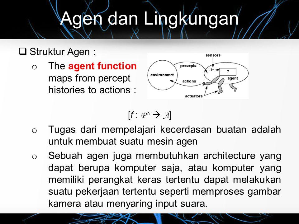 Agen dan Lingkungan  Struktur Agen : o Jadi, sebuah architecture membuat kesan-kesan lingkungan dapat diterima dengan baik oleh sensor- sensor yang dimilikinya, lalu dapat menjalankan program agennya dan dapat memberikan tindakan terhadap lingkungan menggunakan actuators.
