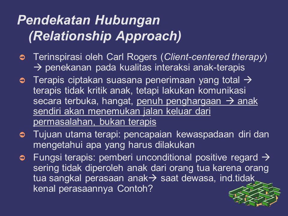 Pendekatan Hubungan (Relationship Approach) ➲ Terinspirasi oleh Carl Rogers (Client-centered therapy)  penekanan pada kualitas interaksi anak-terapis ➲ Terapis ciptakan suasana penerimaan yang total  terapis tidak kritik anak, tetapi lakukan komunikasi secara terbuka, hangat, penuh penghargaan  anak sendiri akan menemukan jalan keluar dari permasalahan, bukan terapis ➲ Tujuan utama terapi: pencapaian kewaspadaan diri dan mengetahui apa yang harus dilakukan ➲ Fungsi terapis: pemberi unconditional positive regard  sering tidak diperoleh anak dari orang tua karena orang tua sangkal perasaan anak  saat dewasa, ind.tidak kenal perasaannya Contoh?