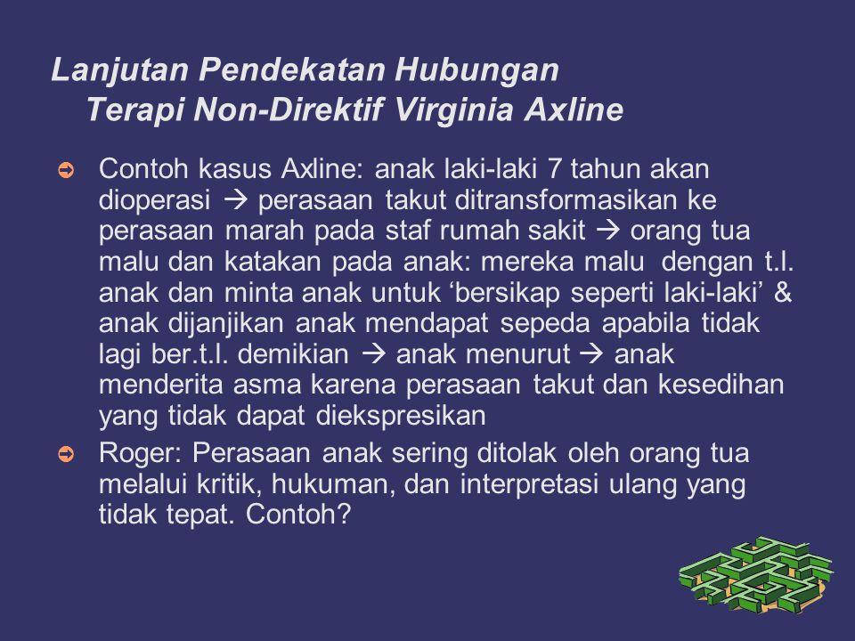 Lanjutan Pendekatan Hubungan Terapi Non-Direktif Virginia Axline ➲ Contoh kasus Axline: anak laki-laki 7 tahun akan dioperasi  perasaan takut ditransformasikan ke perasaan marah pada staf rumah sakit  orang tua malu dan katakan pada anak: mereka malu dengan t.l.
