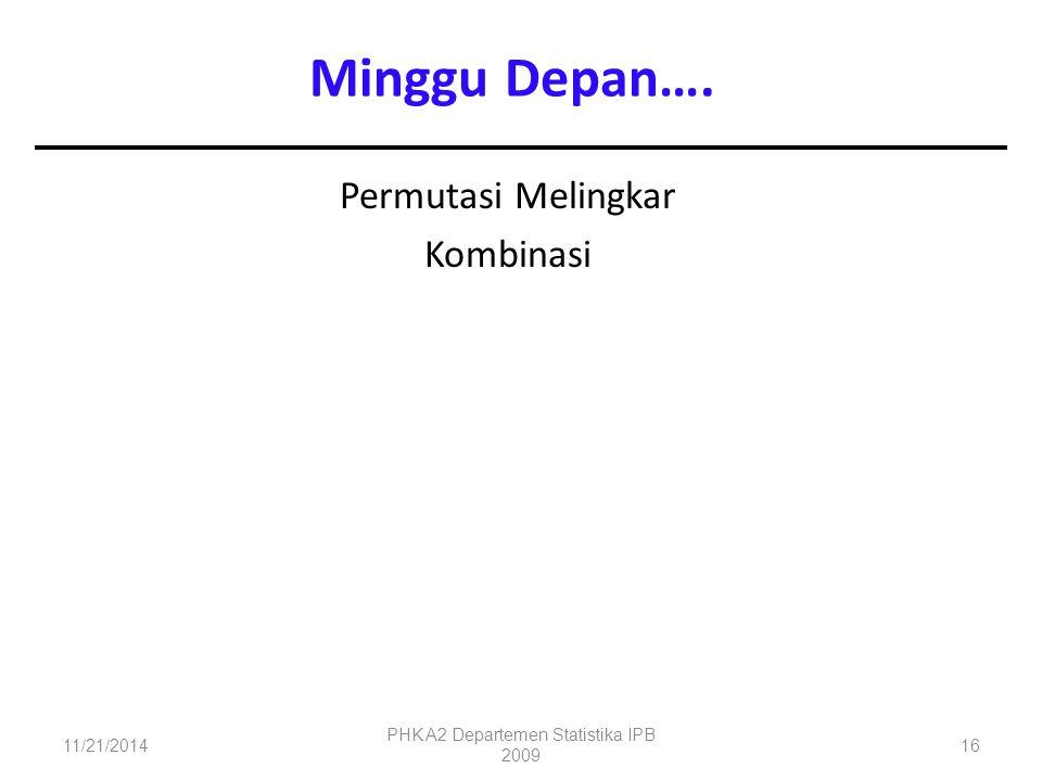 Permutasi Melingkar Kombinasi 11/21/2014 PHK A2 Departemen Statistika IPB 2009 16 Minggu Depan….