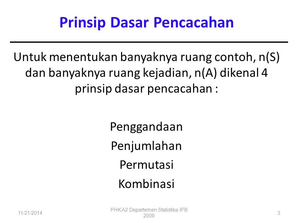 Untuk menentukan banyaknya ruang contoh, n(S) dan banyaknya ruang kejadian, n(A) dikenal 4 prinsip dasar pencacahan : Penggandaan Penjumlahan Permutas