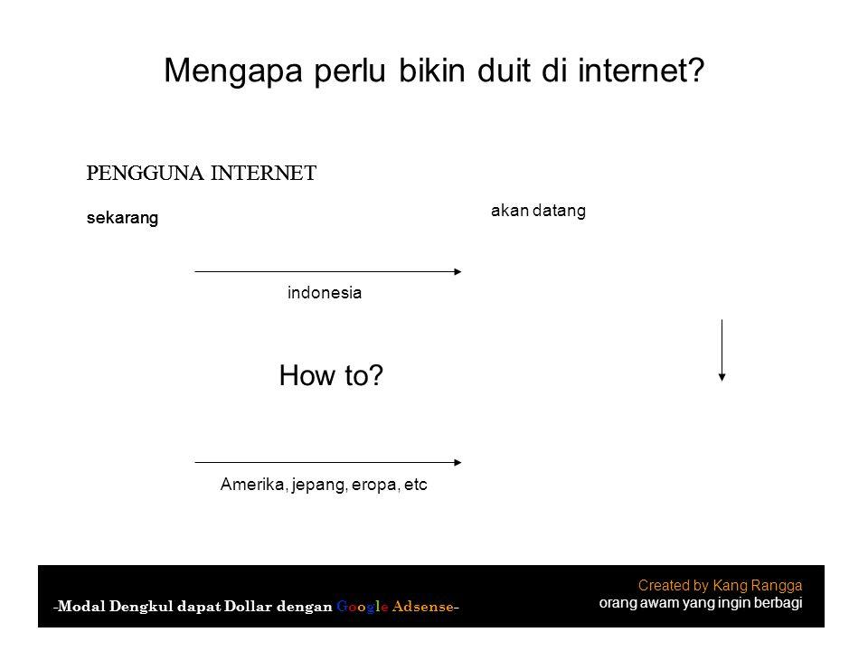 Mengapa perlu bikin duit di internet? Created by Kang Rangga orang awam yang ingin berbagi -Modal Dengkul dapat Dollar dengan Google Adsense- indonesi
