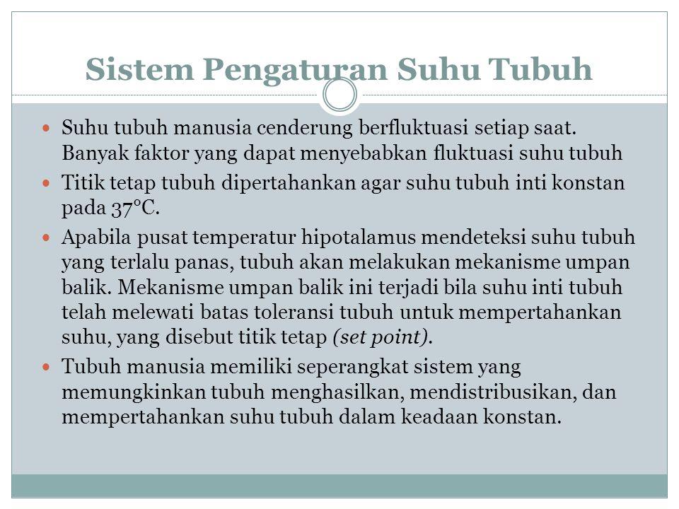 Sistem Pengaturan Suhu Tubuh Suhu tubuh manusia cenderung berfluktuasi setiap saat. Banyak faktor yang dapat menyebabkan fluktuasi suhu tubuh Titik te