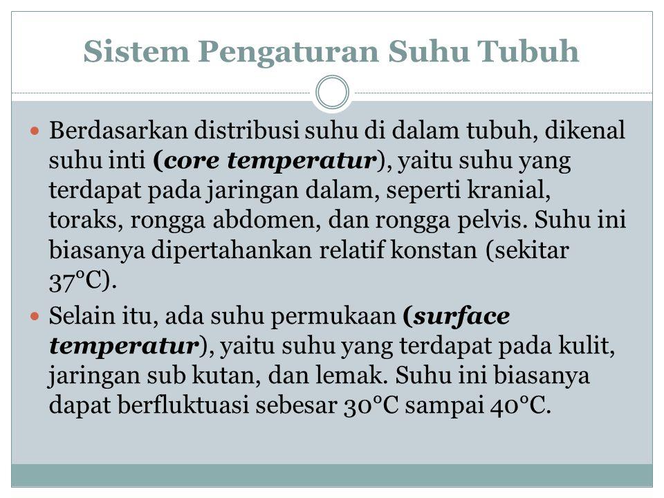 Sistem Pengaturan Suhu Tubuh Berdasarkan distribusi suhu di dalam tubuh, dikenal suhu inti (core temperatur), yaitu suhu yang terdapat pada jaringan d