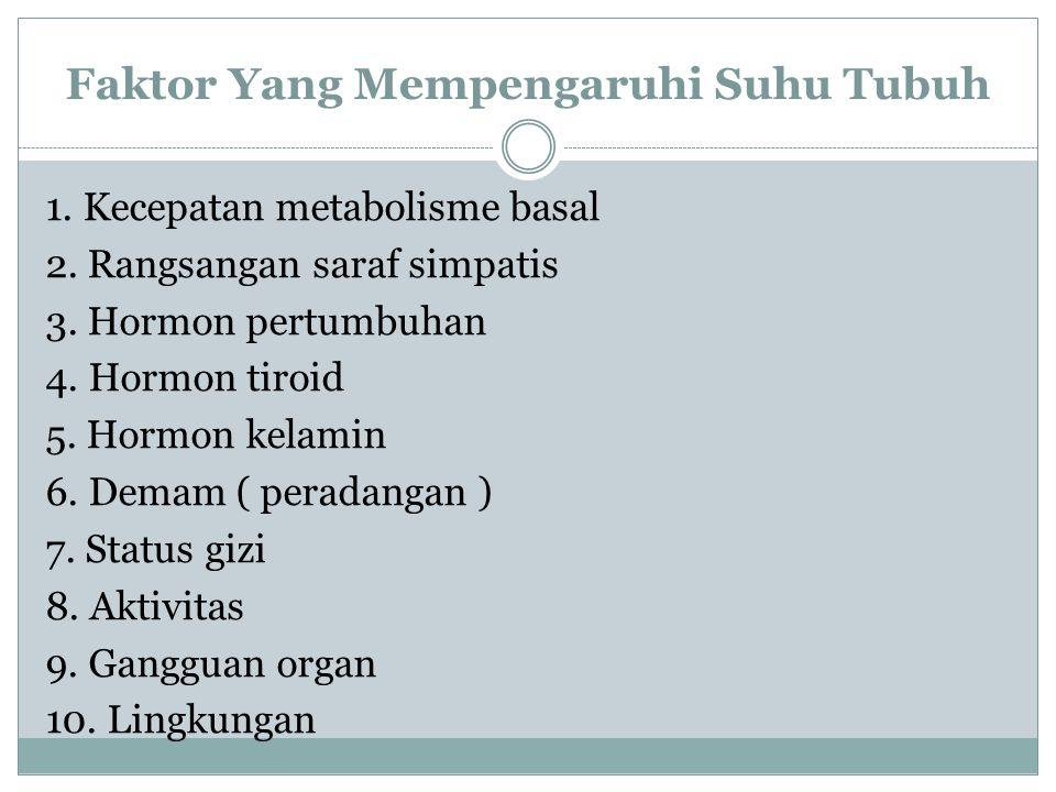 Faktor Yang Mempengaruhi Suhu Tubuh 1. Kecepatan metabolisme basal 2. Rangsangan saraf simpatis 3. Hormon pertumbuhan 4. Hormon tiroid 5. Hormon kelam