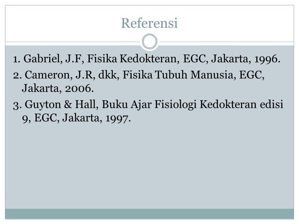 Referensi 1. Gabriel, J.F, Fisika Kedokteran, EGC, Jakarta, 1996. 2. Cameron, J.R, dkk, Fisika Tubuh Manusia, EGC, Jakarta, 2006. 3. Guyton & Hall, Bu