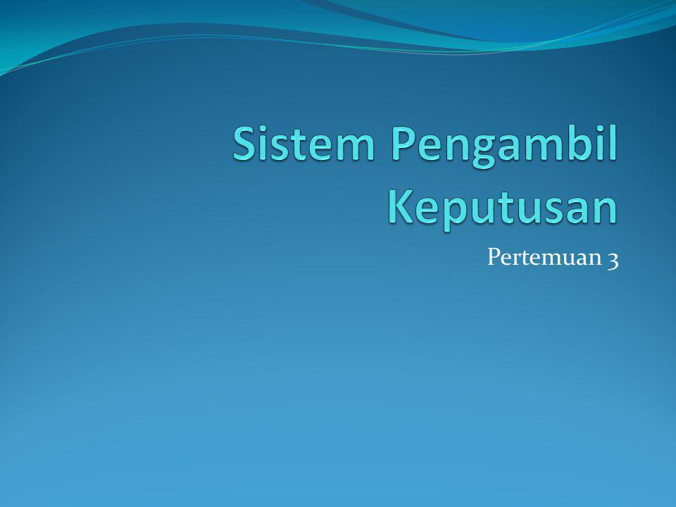 1.Konsep Sistem Pendukung Keputusan 2.Sistem Pendukung Keputusan Kelompok 3.Sistem Informasi Perusahaan 4.Sistem Manajemen Pengetahuan 5.Sistem Pakar 6.Jaringan Saraf Tiruan 7.DSS Cerdas Tingkat Lanjut 8.Sistem Pendukung Hibrid Sub Pokok Bahasan