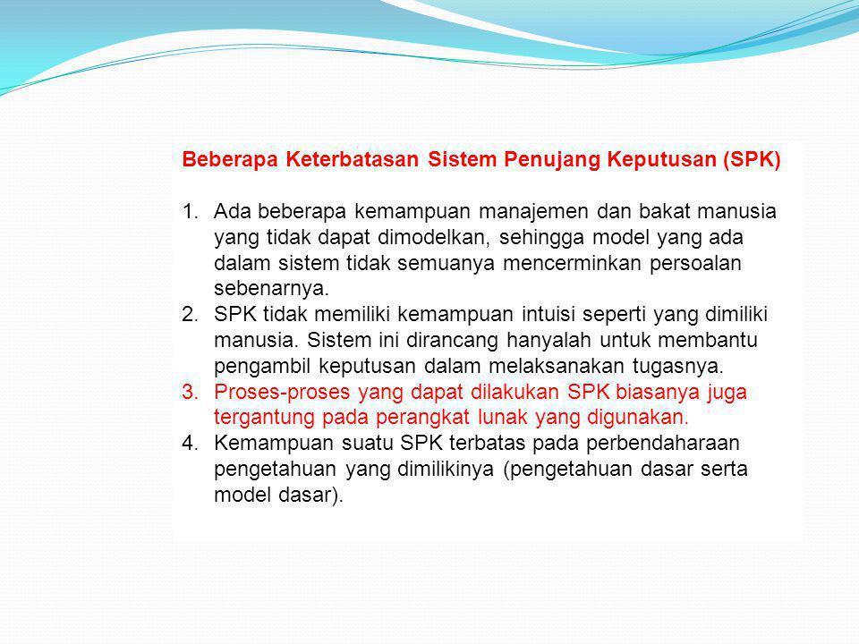 Beberapa Keterbatasan Sistem Penujang Keputusan (SPK) 1.Ada beberapa kemampuan manajemen dan bakat manusia yang tidak dapat dimodelkan, sehingga model