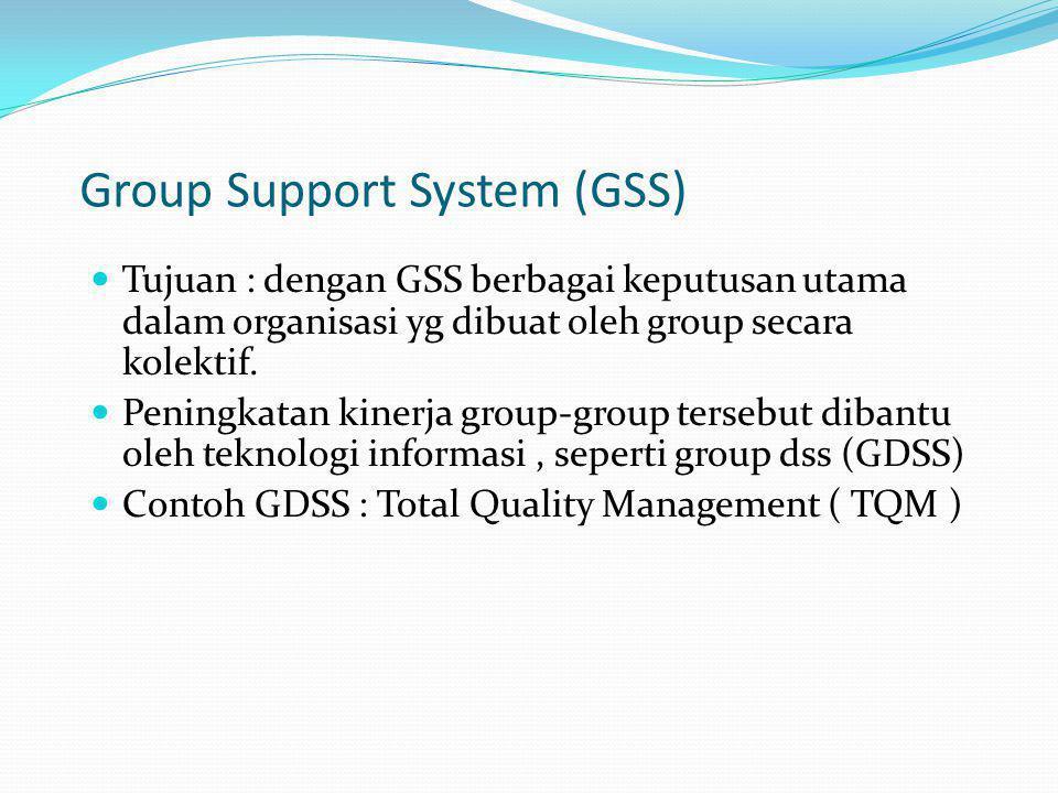 Group Support System (GSS) Tujuan : dengan GSS berbagai keputusan utama dalam organisasi yg dibuat oleh group secara kolektif. Peningkatan kinerja gro