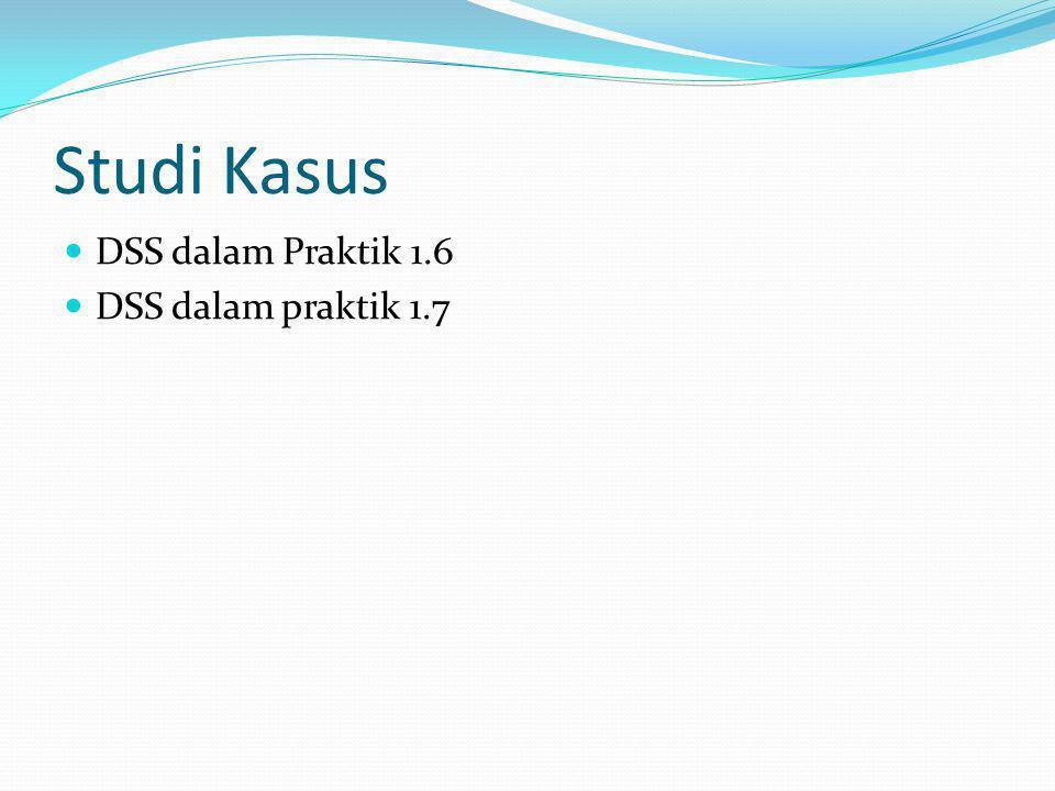 Studi Kasus DSS dalam Praktik 1.6 DSS dalam praktik 1.7