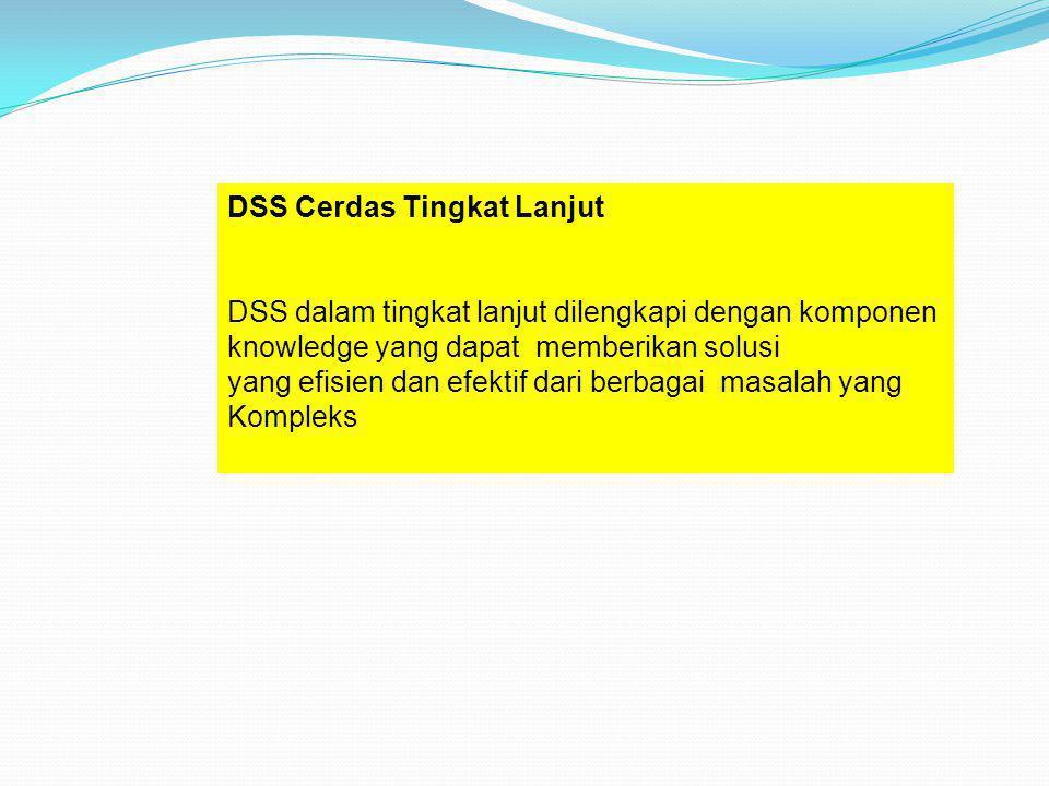 DSS Cerdas Tingkat Lanjut DSS dalam tingkat lanjut dilengkapi dengan komponen knowledge yang dapat memberikan solusi yang efisien dan efektif dari ber