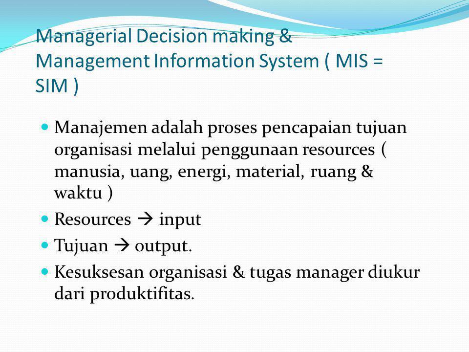 Managerial Decision making & Management Information System ( MIS = SIM ) Manajemen adalah proses pencapaian tujuan organisasi melalui penggunaan resou