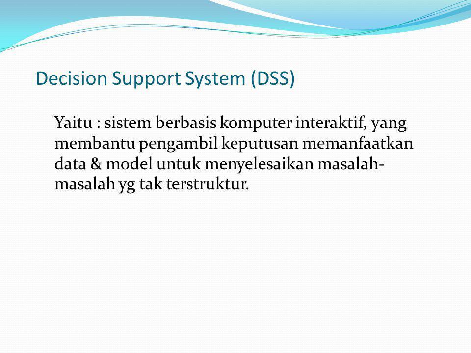Expert System ( ES ) : Expert System merupakan komponen perangkat keras (hardware) dan perangkat lunak (software) yang digunakan sebagai pengambil keputusan, pemecahan masalah.