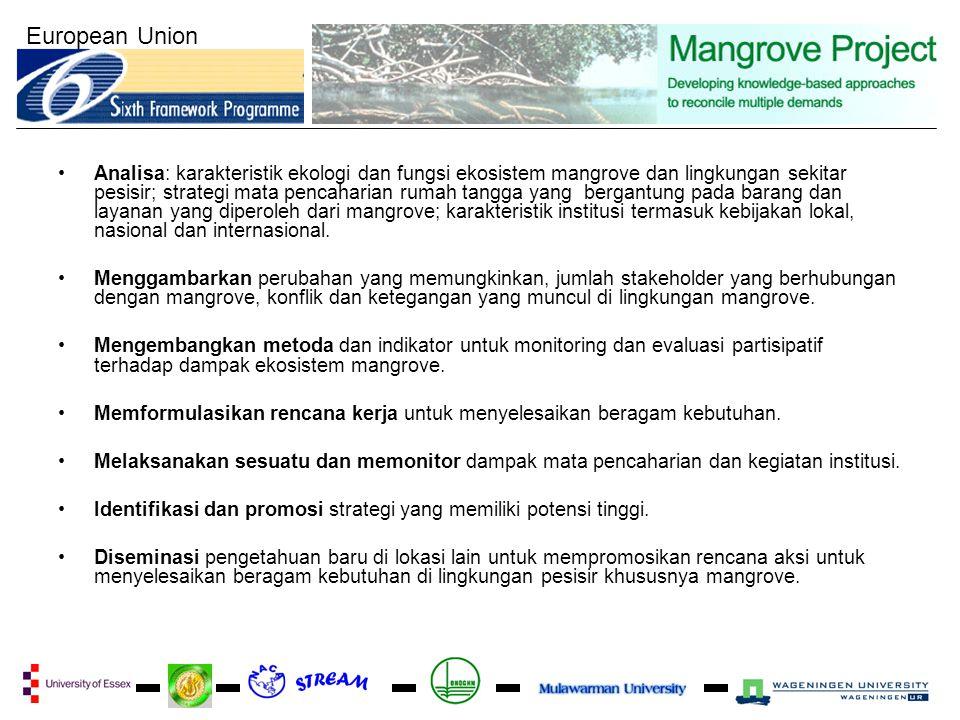 European Union Analisa: karakteristik ekologi dan fungsi ekosistem mangrove dan lingkungan sekitar pesisir; strategi mata pencaharian rumah tangga yang bergantung pada barang dan layanan yang diperoleh dari mangrove; karakteristik institusi termasuk kebijakan lokal, nasional dan internasional.