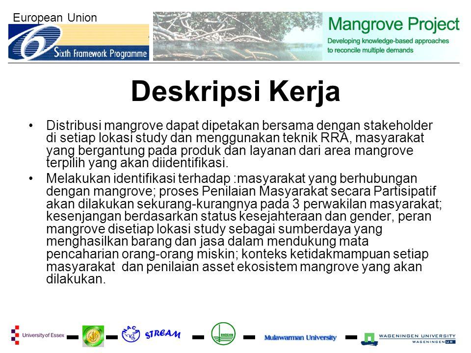 European Union Deskripsi Kerja Distribusi mangrove dapat dipetakan bersama dengan stakeholder di setiap lokasi study dan menggunakan teknik RRA, masyarakat yang bergantung pada produk dan layanan dari area mangrove terpilih yang akan diidentifikasi.