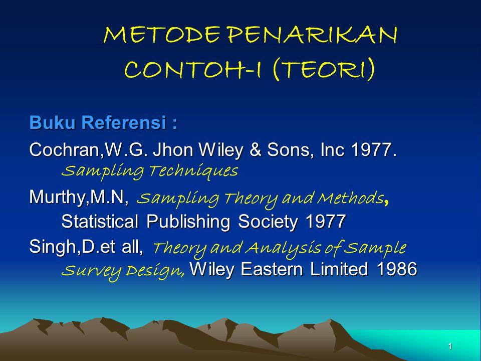 1 METODE PENARIKAN CONTOH-I (TEORI) Buku Referensi : Cochran,W.G. Jhon Wiley & Sons, Inc 1977. Cochran,W.G. Jhon Wiley & Sons, Inc 1977. Sampling Tech