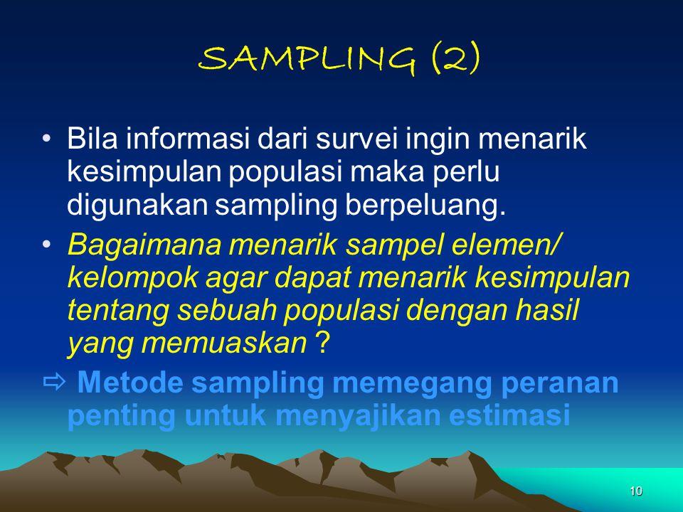 10 SAMPLING (2) Bila informasi dari survei ingin menarik kesimpulan populasi maka perlu digunakan sampling berpeluang. Bagaimana menarik sampel elemen