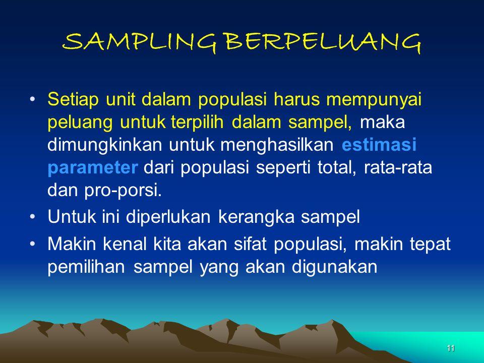 11 SAMPLING BERPELUANG Setiap unit dalam populasi harus mempunyai peluang untuk terpilih dalam sampel, maka dimungkinkan untuk menghasilkan estimasi p