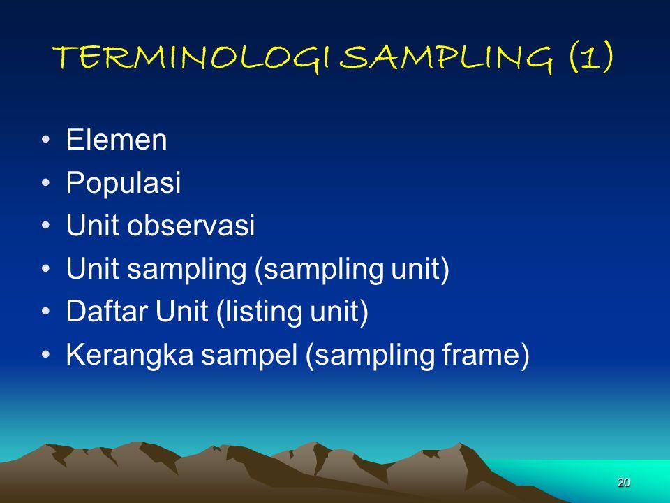 20 TERMINOLOGI SAMPLING (1) Elemen Populasi Unit observasi Unit sampling (sampling unit) Daftar Unit (listing unit) Kerangka sampel (sampling frame)
