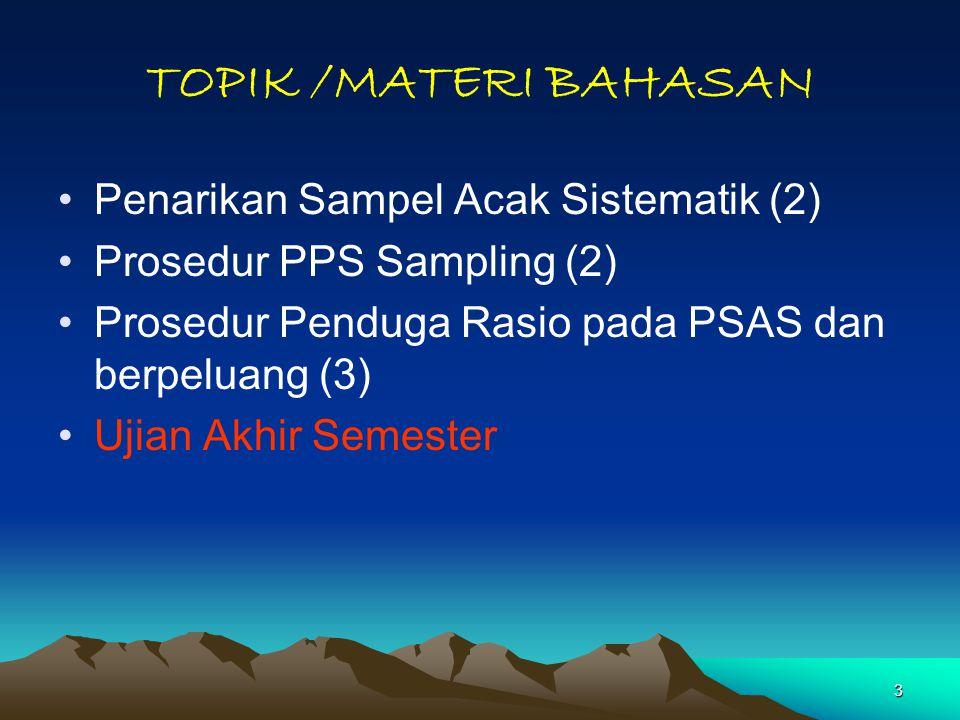 3 TOPIK /MATERI BAHASAN Penarikan Sampel Acak Sistematik (2) Prosedur PPS Sampling (2) Prosedur Penduga Rasio pada PSAS dan berpeluang (3) Ujian Akhir