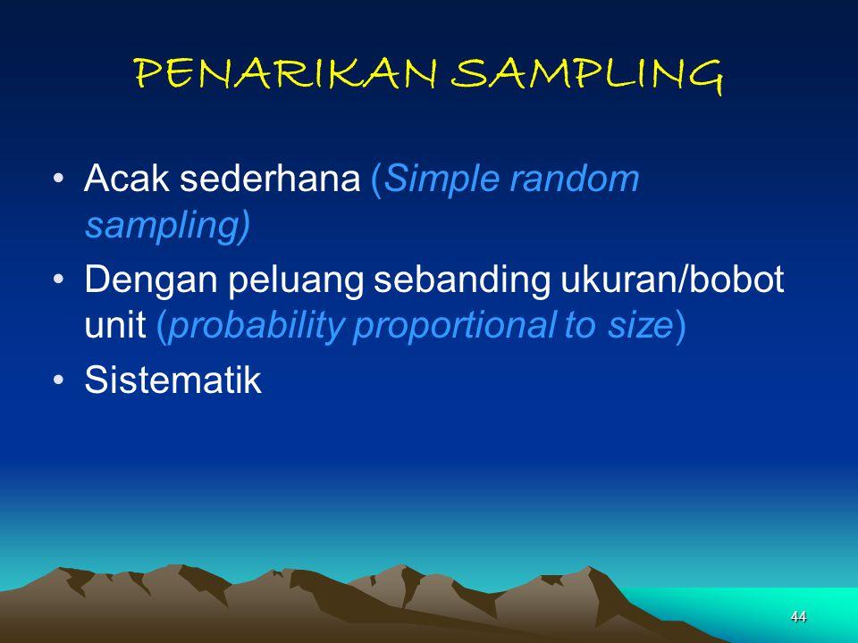 44 PENARIKAN SAMPLING Acak sederhana (Simple random sampling) Dengan peluang sebanding ukuran/bobot unit (probability proportional to size) Sistematik