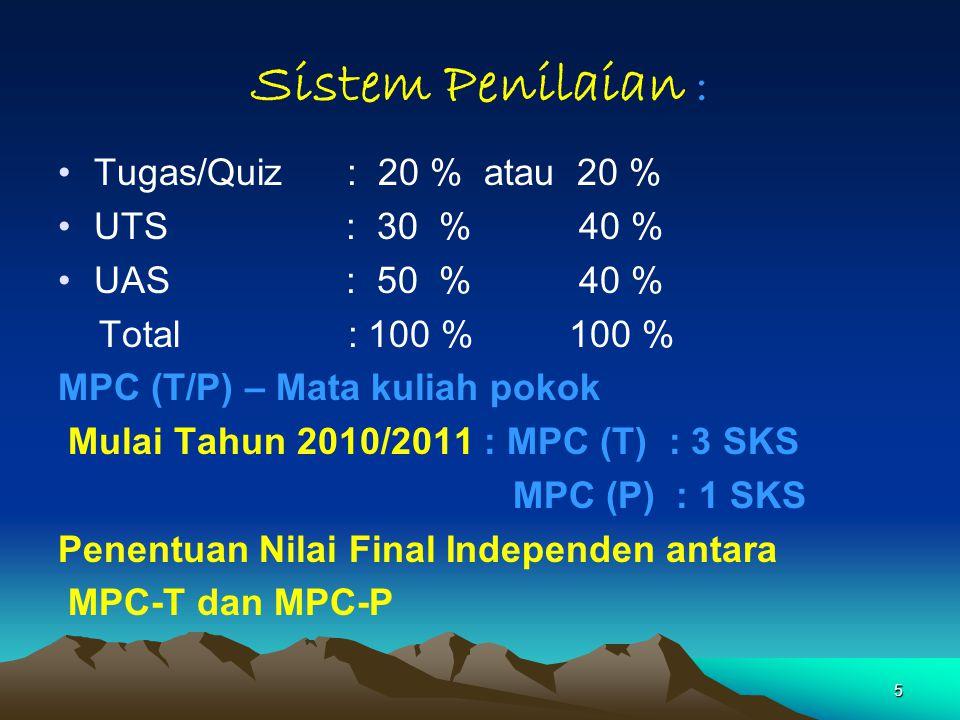 5 Sistem Penilaian : Tugas/Quiz : 20 % atau 20 % UTS: 30 % 40 % UAS : 50 % 40 % Total : 100 % 100 % MPC (T/P) – Mata kuliah pokok Mulai Tahun 2010/201
