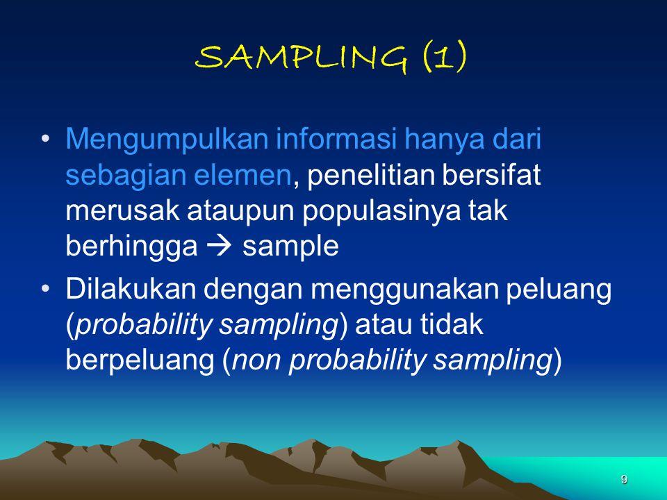 9 SAMPLING (1) Mengumpulkan informasi hanya dari sebagian elemen, penelitian bersifat merusak ataupun populasinya tak berhingga  sample Dilakukan den