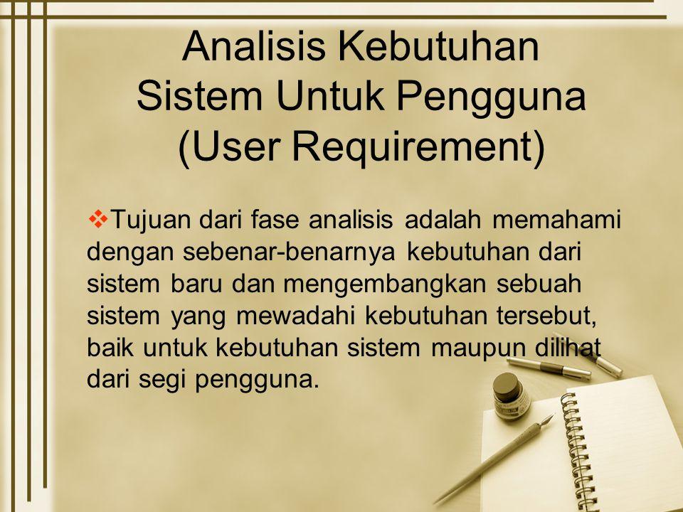 Analisis Kebutuhan Sistem Untuk Pengguna (User Requirement)  Tujuan dari fase analisis adalah memahami dengan sebenar-benarnya kebutuhan dari sistem baru dan mengembangkan sebuah sistem yang mewadahi kebutuhan tersebut, baik untuk kebutuhan sistem maupun dilihat dari segi pengguna.