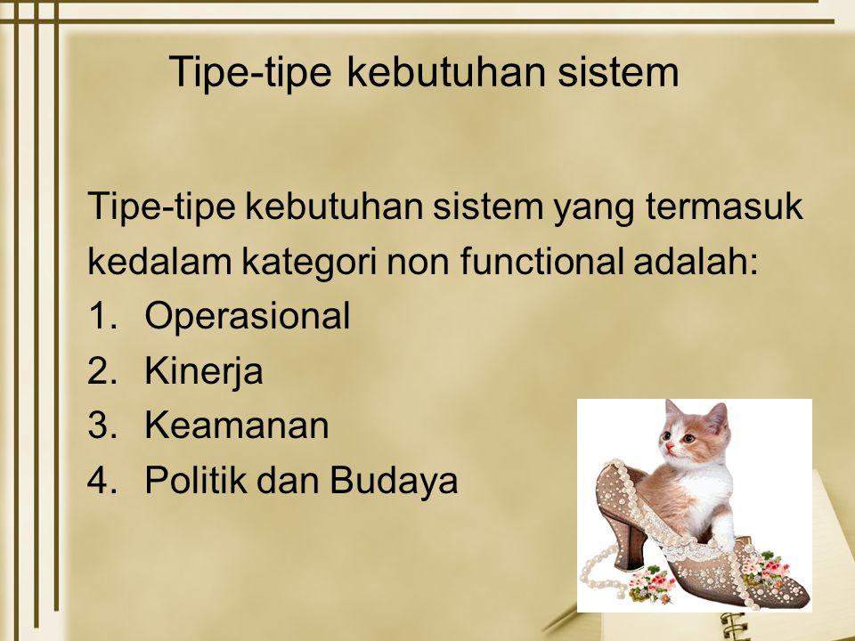 Tipe-tipe kebutuhan sistem Tipe-tipe kebutuhan sistem yang termasuk kedalam kategori non functional adalah: 1.Operasional 2.Kinerja 3.Keamanan 4.Politik dan Budaya