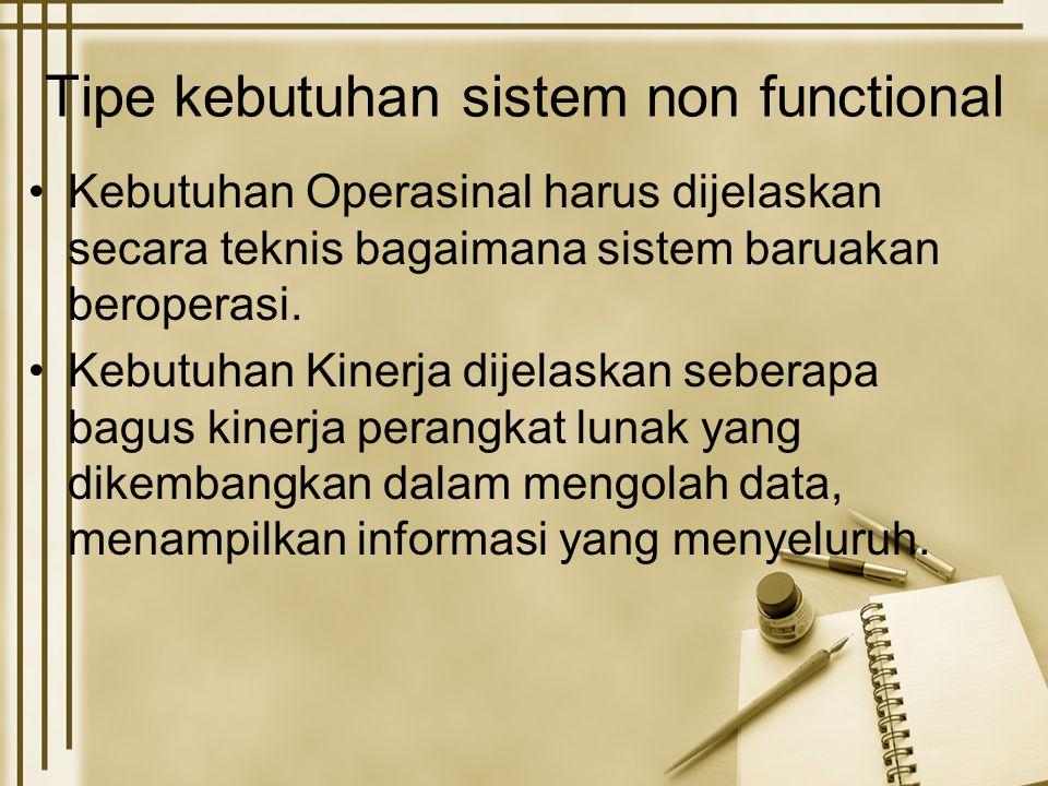 Tipe kebutuhan sistem non functional Kebutuhan Operasinal harus dijelaskan secara teknis bagaimana sistem baruakan beroperasi. Kebutuhan Kinerja dijel