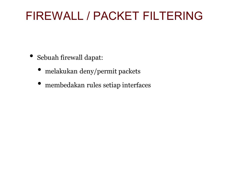 Sebuah firewall dapat: melakukan deny/permit packets membedakan rules setiap interfaces