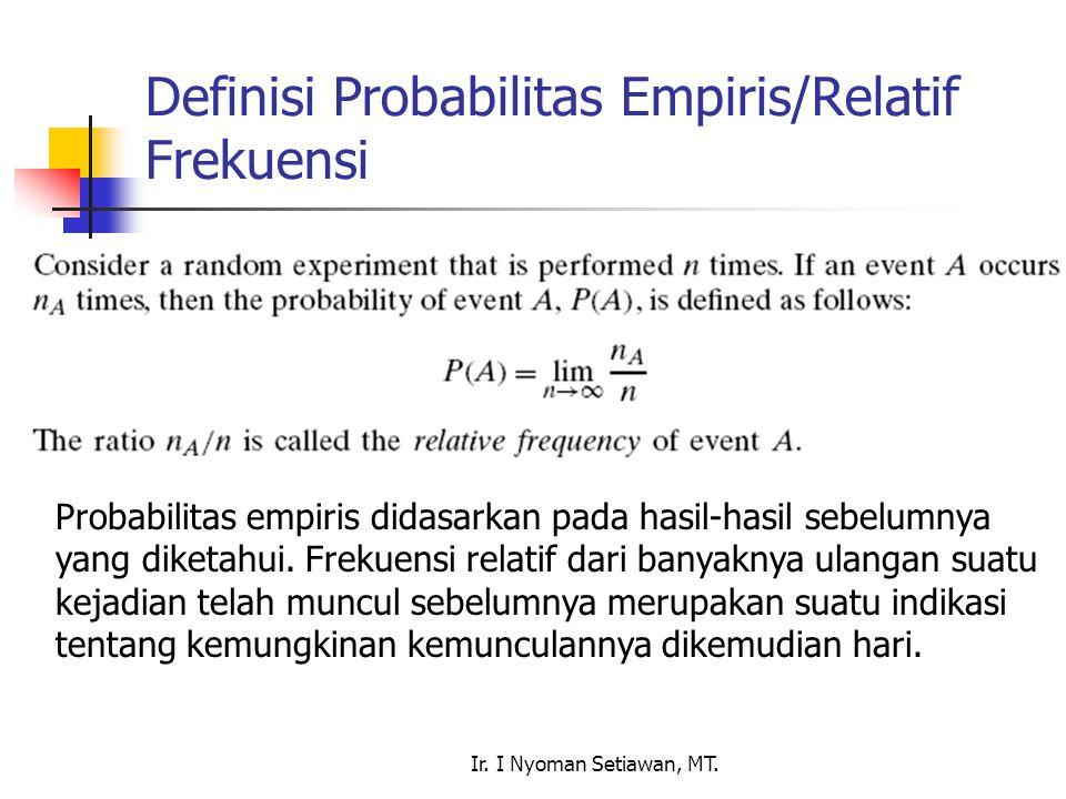 Ir. I Nyoman Setiawan, MT. Definisi Probabilitas Empiris/Relatif Frekuensi Probabilitas empiris didasarkan pada hasil-hasil sebelumnya yang diketahui.