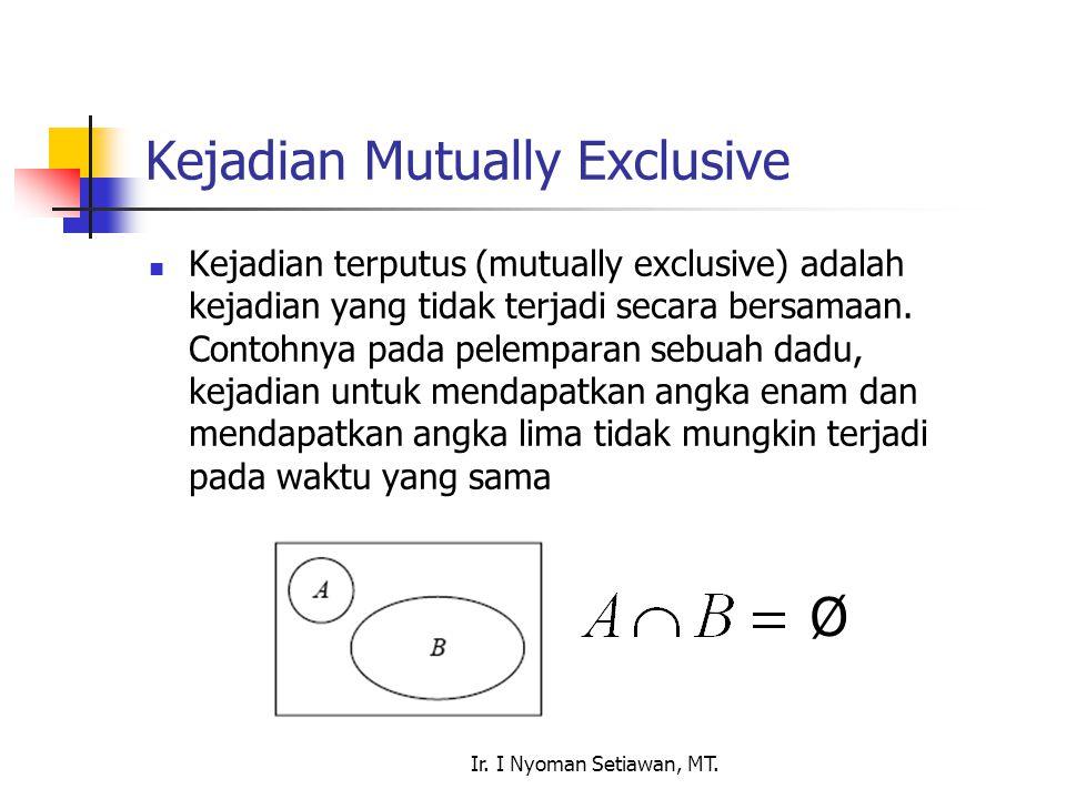 Ir. I Nyoman Setiawan, MT. Kejadian Mutually Exclusive Kejadian terputus (mutually exclusive) adalah kejadian yang tidak terjadi secara bersamaan. Con